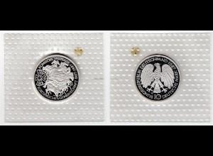 """Silbermünze 10 DM 1987 Römische Verträge """"G"""" polierte Platte (2)"""