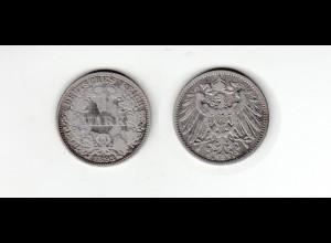 Silbermünze Kaiserreich 1 Mark 1893 A Jäger Nr. 17 /24