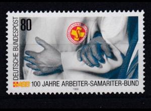 Bund 1394 I mit Plattenfehler 100 Jahre Arbeiter Samatiter Bund 80 Pf postfrisch