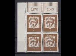 Bund 348y 4er Block Eckrand links oben Bedeutende Deutsche 7 Pf postfrisch