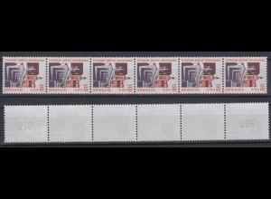 Bund 2140 RM 6er Str. mit ungerader neuer Nr. 3 stellig SWK 110 Pf/0,56 C **