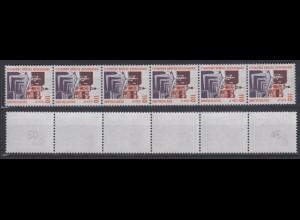 Bund 2140 RM 6er Streifen 2 stellig Nr. mit Punkt SWK 110 Pf/0,56 C postfrisch