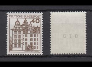 Bund 1037 RM mit gerader Nummer Burgen + Schlösser 40 Pf postfrisch