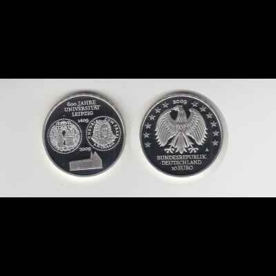 Silbermünze 10 Euro 2009 600 Jahre Universität Leipzig Spiegelglanz