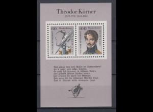 Bund Block 25 200. Geburtstag Theodor Körner 60 Pf + 100 Pf postfrisch