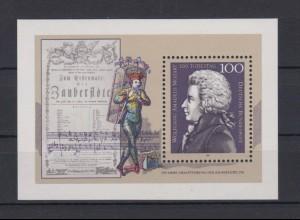Bund Block 26 200. Todestag Wolfgang Amadeus Mozart 100 Pf postfrisch