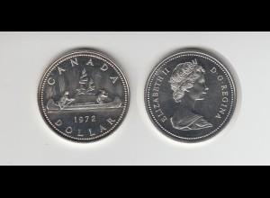 Silbermünze Kanada 1 Dollar 1972 Kanu