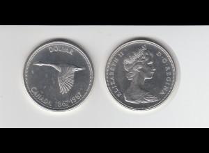 Silbermünze Kanada 1 Dollar 1967 Wildgans stempelglanz