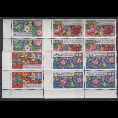 Bund 1259-1262 4er Block Eckrand links unten Wohlfahrt Miniaturen kompl. Satz **