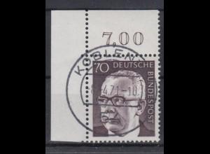 Bund 642 Eckrand rechts oben Gustav Heinemann (II) 80 Pf Ersttagsstempel Koblenz