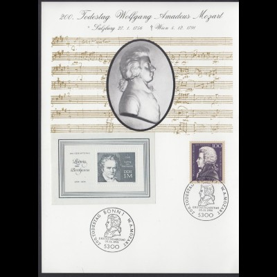 Gedenkblatt DDR Bund 200. Todestag Wolfgang Amadeuas Mozart 1991