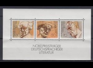 Bund Block 16 Nobelpreisträger deutschsprachiger Literatur 30, 50, 70 Pf **