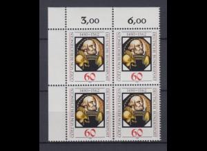 Bund 1036 4er Block Eckrand links oben Götz von Berlichingen 60 Pf postfrisch