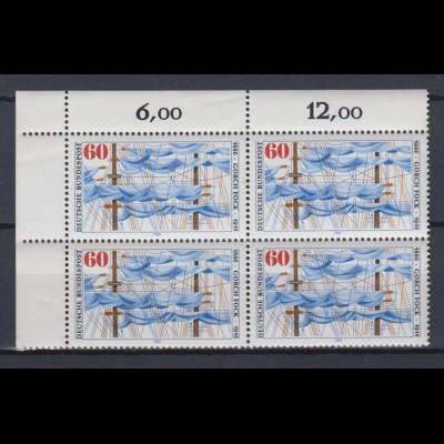 Bund 1058 Eckrand links oben 4er Block Gorch Fock 60 Pf postfrisch