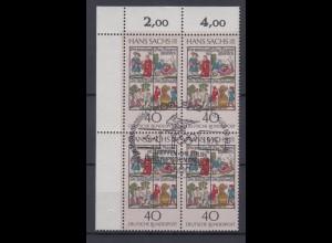 Bund 877 4er Block Eckrand links oben Hans Sachs 40 Pf Sonderstempel Koblenz
