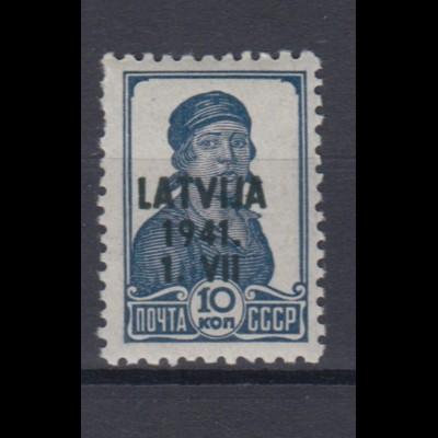 Lettland 2 Freimarke der Sowjetunion mit schwarzem Bdr. Aufdruck 10 K postfrisch