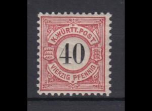 Altdeutschland Württemberg 62 schwarze Ziffern im Kreis 40 Pf postfrisch