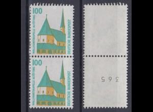 Bund 1406 A v RM senkr. Paar mit ungerader Nummer SWK 100 Pf ** weiße Gummierung