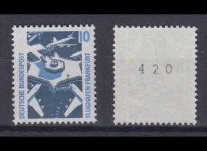 Bund 1347 A u RM mit gerader Nummer SWK 10 Pf postfrisch gelbe Gummierung