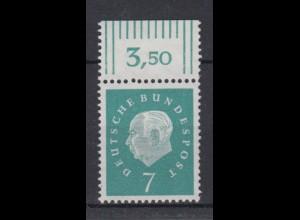 Bund 302 mit Oberrand Bundespräsident Heuss 10 Pf postfrisch