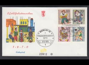 Berlin FDC mit 373-376 Wohlfahrt Marionetten ESST Berlin 6.10.1970 /2