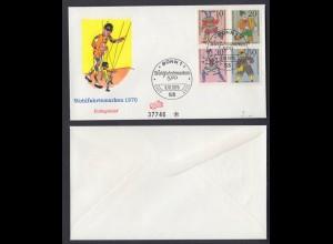 Bund FDC mit 650-653 Marionetten kompl. Satz ESST Bonn 6.10.1970