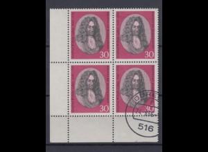 Bund 518 4er Bl. Eckrand links unten Gottfried Wil. Leibniz 30 Pf **/gestempelt