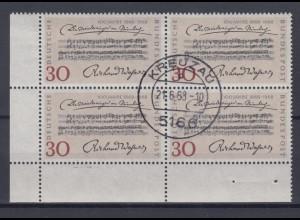 Bund 566 Eckrand links unten 4er Bl. Jahrestag der Uraufführung 30 Pf gestempelt