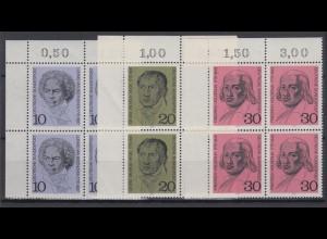 Bund 616-618 Eckrand links oben 4er Block Ludwig v. Bethoven kompl. Satz **