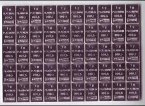 Platinbarren Tafelbarren 50 x 1 Gramm Heimerle + Meule in Box