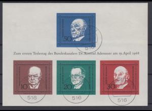 Bund Block 4 1.Todestag Konrad Adenauer (I) gestempelt