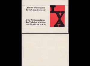Bund Erste Weltausstellung des Verkehrs München Sonderbeleg mit Sonderstempel