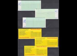 3 Bund Versuchs Markenheftchen 20 cI, 20 dI, 22 o K2 Unfall und B+S postfrisch