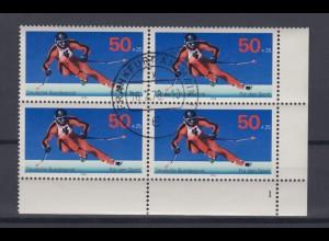 Bund 958 Eckrand rechts unten 4er Block mit FN 1 Sporthilfe Abfahrtslauf 50 Pf