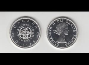 Silbermünze Kanada 1 Dollar 1964 Charlottetown Querbec