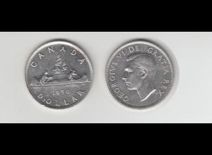Silbermünze Kanada 1 Dollar 1950 Kanu
