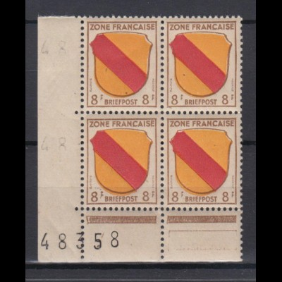 All. Besetzung Französische Zone Mi.Nr. 4 Eckrand 4er Block mit Bogennummer **/2