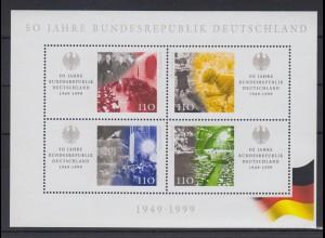 Bund Block 49 I mit Plattenfehler 50 Jahre Bundesrepublik Deutschland postfrisch