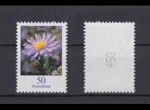 Bund 2463 Rollenmarke mit gerader Nr. Blumen Herbstaster 50 C postfrisch