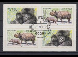 Bund 2205 SELBSTKLEBEND 4er Bl. aus MH 44 Bedrohte Tierarten 110 Pf/0,56€ ESST