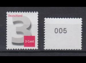 Bund 2964 Rollenmarke mit Nr. 005 Ziffernzeichnung 3 Cent postfrisch