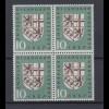Bund 249 I Plattenfehler 4er Block Eingliederung des Saarlandes 10 Pf **