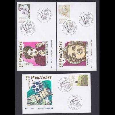 Bund 5 FDC`s mit 2218-2222 Wohlfahrt Schauspieler ESST Bonn 11.10./13.11.2001