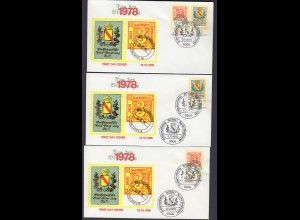 Bund 3 FDC`s mit 980-981 Tag der Briefmarke 1978 mit ESST Bonn 12.10.1978