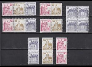 Bund 8 Zusammendrucke W57-W62 aus H.BL. 26 Burgen+Schlösser postfrisch