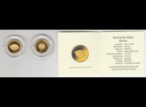 Goldmünze 20 Euro 2011 Deutscher Wald - Buche mit Zertifikat in Kapsel