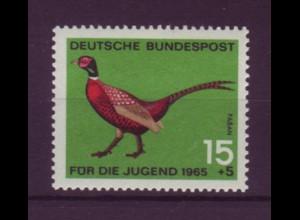 Bund 465 DD mit Doppeldruck Jagdbares Federwild Jagdfasan 15 Pf postfrisch