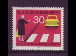 Bund 673 I mit Plattenfehler Neue Regeln im Straßenverkehr (II) 30 Pf postfrisch