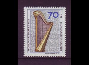 Bund 785 DD mit Doppeldruck Musikinstrumente Pedalharfe 70 Pf postfrisch