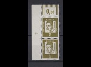 Bund 347y senkrechtes Paar Eckrand links oben DZ 4 Bedeutende Deutsche 5 Pf **